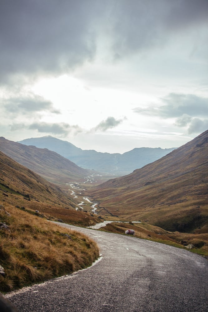 The road-ahead: our view of Wrynose Pass as it tracks the River Duddon towards Hardknott