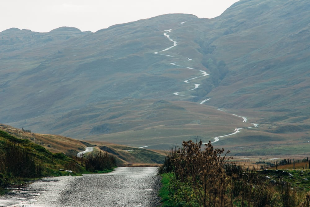Hardknott Pass. If it looks like a broad, gradual, well-engineered road... you're wrong.
