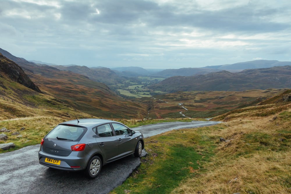Our reward: a spectacular view from the top of the Hardknott Pass.
